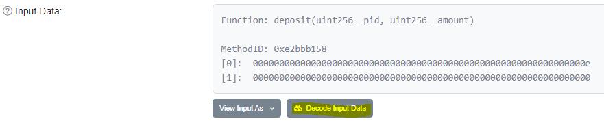 Input data displayed in network explorer