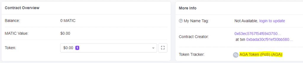 Address info in explorer showing linked token name